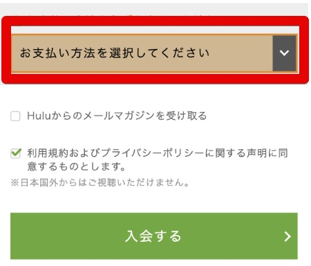 Hulu支払い方法選択プルダウンメニューの画像