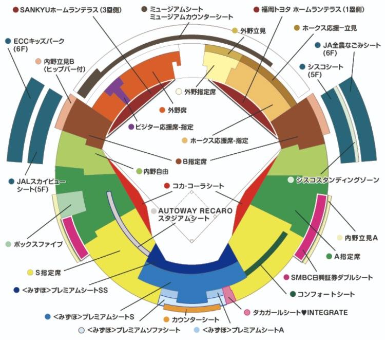 ヤフオクドームの座席表の画像